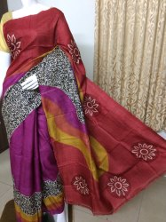 Block Printed Tussar Silk Saree