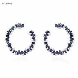 Sapphire Hoop Stud Earrings