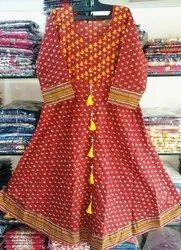 Cotton 3/4th Sleeve Printed Maroon Kurti, Size: S, M And L