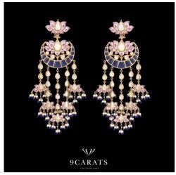 Meenakari Gold And Kundan Chandbaali Earrings