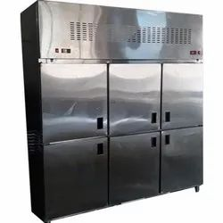 Ryan Silver Stainless Steel Commercial Six Door Refrigerator, Capacity: 1400-1600 L