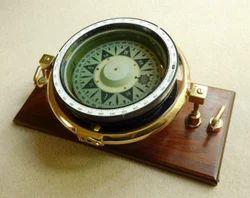 Mounted To A Teak Base Gimbaled Ship Compass