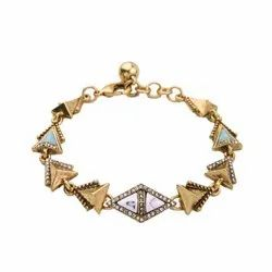 Crystal Antique Gold Vintage Link Chain Bracelet