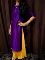 Purple Long Kurti In Raw Silk With Buttons In Kundan