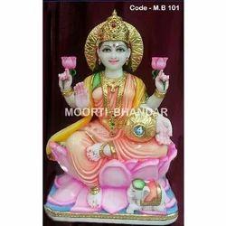 Maa Laxmi White Makrana Marble Statue