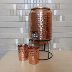 Hammered Copper Tanki, For Dispenser, Size: 5 L