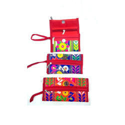 Canvas Cotton Ladies Embroidered Wallet