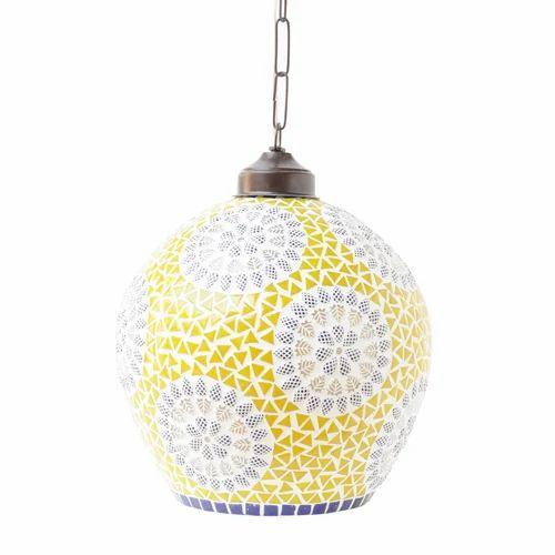 Craftkriti Handmade Mirror Inverso Unique Mosaic Hanging Lamp