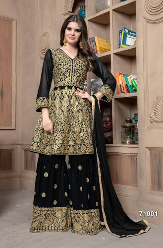 4719a50885 Heavy Embroidered Wedding Wear Georgette Semi-Stitched Sharara Suit ...