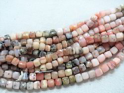Natural Pink Opal Stone Faceted Cut Box Stone Bead Strands