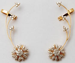 Dynamic Floral Cluster Diamond Multi Branched Gold Earcuff, Weight : 9.126 Gram