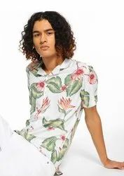 Printed White Half Sleeve Men Casual Cotton Viscose Shirt