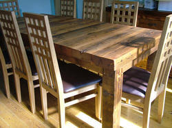Handicraft Point Wood Reclaimed Restaurant Dining Table and Chairs for Restaurants
