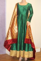 Green Raw Silk Full Dress with Banarasi Dupatta