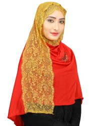 Net Embroidery Red Stole Hijab Scarf