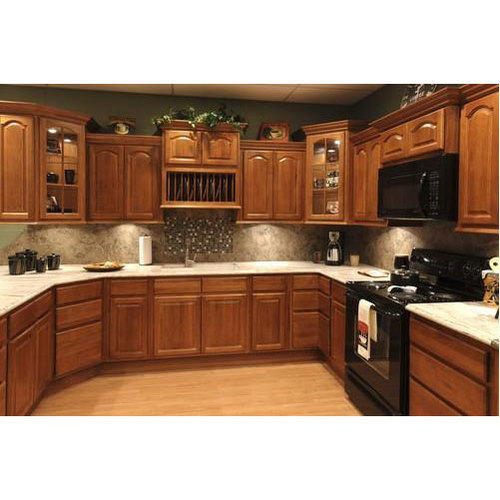 Teak Wood Brown Stylish Kitchen Cabinet