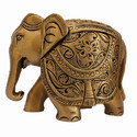 Wooden Painted Elephant Statue