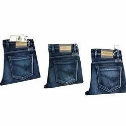 Plain Casual Wear Mens Dark Blue Denim Jeans