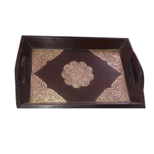 Rectangle Brown And Golden Decorative Wooden Tray