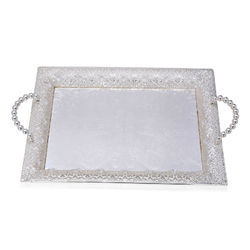 Decorated Silver Tone Tray
