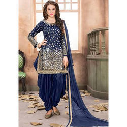 Navy Blue Semi-Stitched Ladies Party Wear Patiala Suit