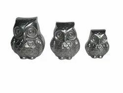 Metal Owl Figurine Sculpture
