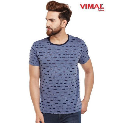 a47779ae Vimal Blue Torn Look Round Neck T Shirt For Men