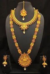 Shourya Exports Copper Bridal Temple Jewelry Set