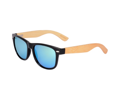 Female SD Jaxson Bamboo Wood Wayfarer Sunglasses, Size: Large (55-13-148)