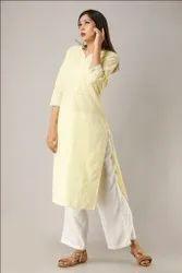 Yellow Color with Zig - Zag Embroidered Work  Cotton Palazzo Kurtis