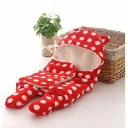 Sherpa Little Cubs Red Polka Print Blanket Cum Sleeping Bag, 0 - 6 Months, Size: 75 X 75 Cms