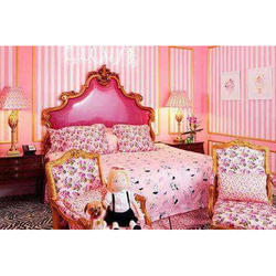 Pink and Golden Queen Size Wooden Double Bed