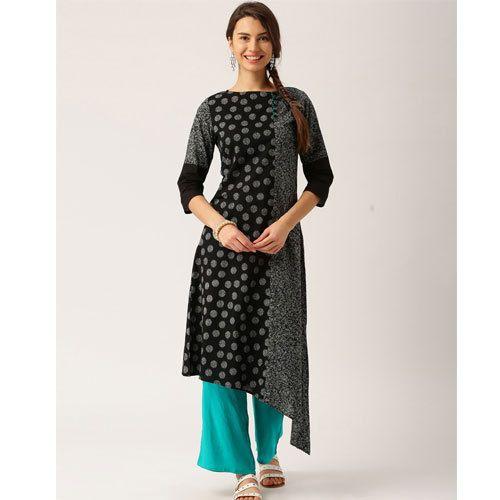 96a350ad07 Cotton Black And Sea Green Palazzo Suit, Rs 625 /set, Nandani ...