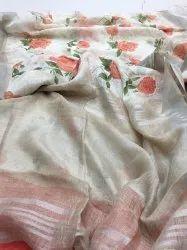 floral linen saree