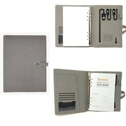 Gray Jute Diary with Power Bank & Pen Drive, Capacity: 5001 - 10000 mAH