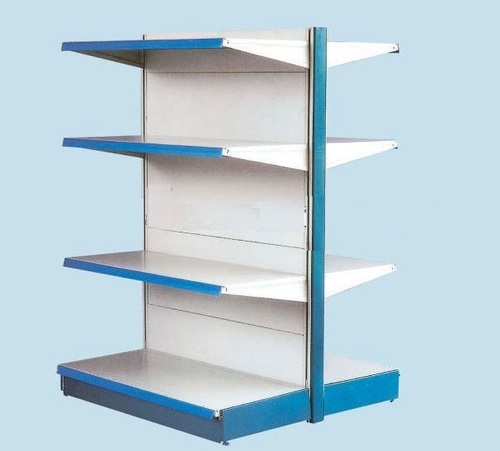 metal double sided supermarket shelves rs 9500 piece shop ease rh indiamart com double sided shelf for preschool classroom two sided shelves