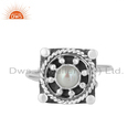 Wholesale Oxidized Plated 925 Silver Natural Pearl Gemstone Ring Jewelry
