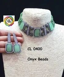 CL Onex Beads Ad Cz Choker Customised Costume Jewellery Choker Necklace Set
