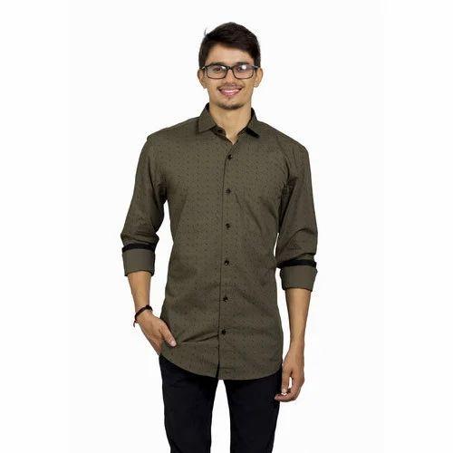 957273588a3 Olive Green Printed Shirts