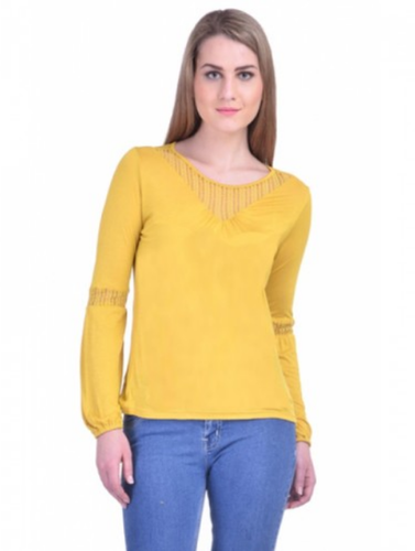 f60a8f3305de2 Mustard Full Sleeve Estance Hosiery Plain Yellow Round Neck Full Sleeves  Casual Top