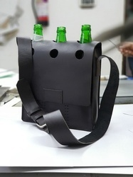 Mon Exports Black Leather Bottle Carrier Bag, Pure Leather(Y/N): Yes