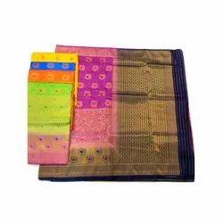 AK Textiles Party Wear Ladies Banarasi Silk Rich Pallu Saree, 5.5 m (Separate Blouse Piece)