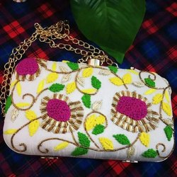 Handcrafted Party Clutch With Flower Embroidered