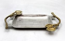 Rough Nickel Tray With Handle, Size: 38 X 23 X 3.50 Cm