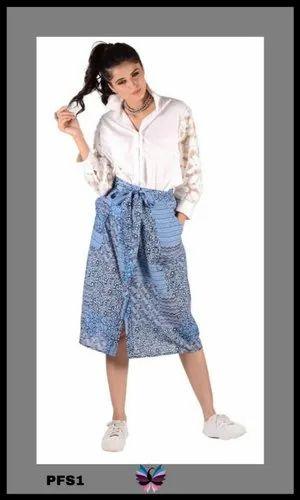Western Indigo Print Skirt