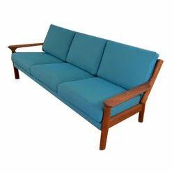 Blue And Brown Teak Wood Sofa