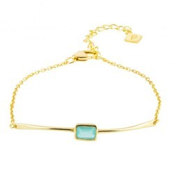 Baguette Aqua Chalcedony Plate Chain Mix Sterling Silver Micron Gold Plated Womens Bracelet