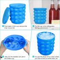 Large Silicone Ice Bucket & Ice Mold with lid, (2 in 1) Space Saving Ice Cube Maker, Silicon Ice Cub