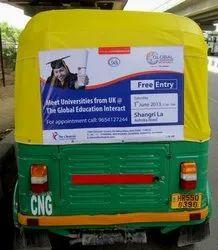 Outdoor Advertising Auto Rickshaw Sticker Branding, Mode Of Advertising: Offline