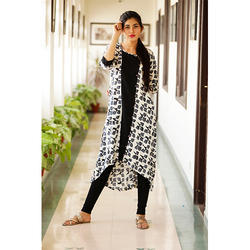 Double Layer Front Cut Cotton Kurti